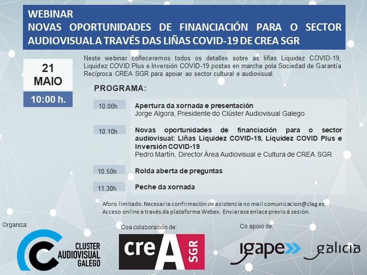 Webinar: Oportunidades de financiamento para o sector audiovisual a través das liñas covid-19 de CreaSGR